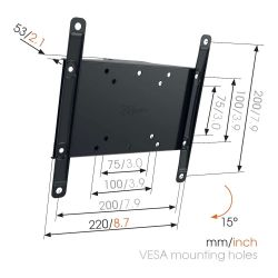 Physix By Vogel's PHW 200S Βάση Τοίχου Σταθερή με δυνατότητα κλίσης για Τηλεόραση από 19'' εώς 43''