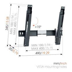 Vogel's THIN 415 Βάση Τοίχου Σταθερή με δυνατότητα κλίσης για Τηλεόραση από 32'' εώς 55''