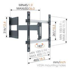Vogel's THIN 546 Βάση Τοίχου για Oled τηλεόραση με βραχίονα από 40'' εώς 65''