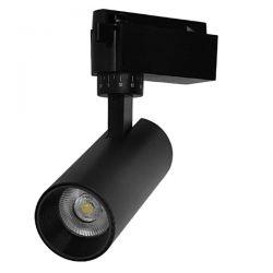 Μονοφασικό Bridgelux COB LED Μάυρο Φωτιστικό Σποτ Ράγας 10W 230V 1250lm 30° Φυσικό Λευκό 4500k GloboStar 93094