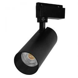 Μονοφασικό Bridgelux COB LED Μάυρο Φωτιστικό Σποτ Ράγας 20W 230V 2400lm 30° Θερμό Λευκό 3000k GloboStar 93102