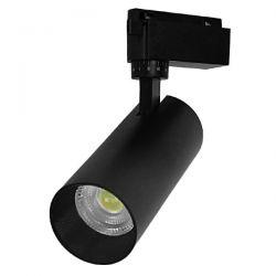 Μονοφασικό Bridgelux COB LED Μάυρο Φωτιστικό Σποτ Ράγας 20W 230V 2600lm 30° Ψυχρό Λευκό 6000k GloboStar 93104