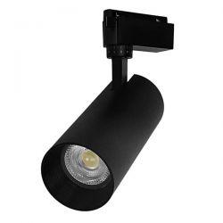 Μονοφασικό Bridgelux COB LED Μάυρο Φωτιστικό Σποτ Ράγας 30W 230V 3750lm 30° Φυσικό Λευκό 4500k GloboStar 93112