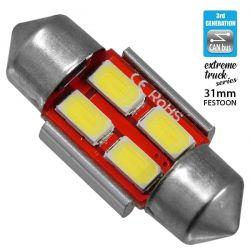 Σωληνωτός LED Extreme Truck Series Can-Bus 3ης Γενιάς 31mm 3w 24V Ψυχρό Λευκό 6000k GloboStar 81341