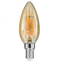 GloboStar® 99031 Λάμπα E14 C35 Κεράκι LED FILAMENT 4W 420 lm 320° AC 85-265V Edison Retro με Μελί Γυαλί Ultra Θερμό Λευκό 2200 K Dimmable