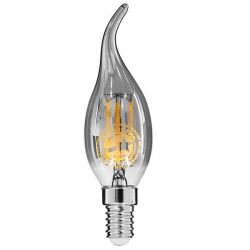 GloboStar® 99062 Λάμπα E14 C35T Κεράκι LED FILAMENT 4W 400 lm 320° AC 85-265V Φλόγα Flame Edison Retro με Φιμέ Γυαλί Θερμό Λευκό 2700 K Dimmable