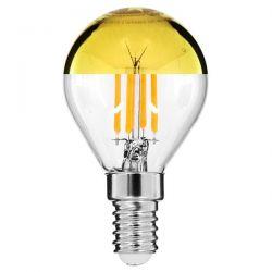 GloboStar® 99105 Λάμπα E14 G45 Γλομπάκι με Ανεστραμμένο Χρυσό Καθρέπτη LED FILAMENT 4W 420 lm 320° AC 85-265V Edison Retro με Διάφανο-Χρυσό Γυαλί Ultra Θερμό Λευκό 2200 K Dimmable