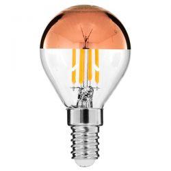 GloboStar® 99109 Λάμπα E14 G45 Γλομπάκι με Ανεστραμμένο Χάλκινο Καθρέπτη LED FILAMENT 4W 420 lm 320° AC 85-265V Edison Retro με Διάφανο-Χάκλινο Γυαλί Ultra Θερμό Λευκό 2200 K Dimmable