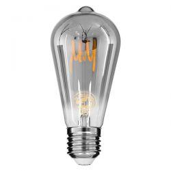GloboStar® 99142 Λάμπα E27 ST64 Αχλάδι LED SOFT T SPIRAL FILAMENT 6W 470 lm 320° AC 85-265V Edison Retro με Φιμέ Γυαλί Θερμό Λευκό 2700 K Dimmable