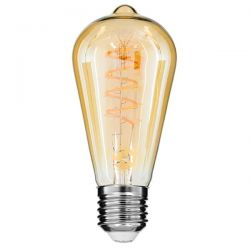 GloboStar® 99144 Λάμπα E27 ST64 Αχλάδι LED SOFT S SPIRAL FILAMENT 6W 490 lm 320° AC 85-265V Edison Retro με Μελί Γυαλί Ultra Θερμό Λευκό 2200 K Dimmable