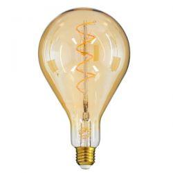 GloboStar® 99164 Λάμπα E27 PS30 Cherry LED SOFT SPIRAL FILAMENT 6W 500 lm 320° AC 85-265V Edison Retro με Μελί Γυαλί Ultra Θερμό Λευκό 2200 K Dimmable