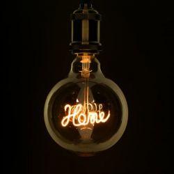 GloboStar® 99254 Λάμπα E27 G125 Deco Soft Letter Home LED FILAMENT 4W 340 lm 320° AC 85-265V Edison Retro με Διάφανο Γυαλί Ultra Θερμό Λευκό 2200 K Dimmable