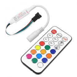 GloboStar® 73441 Ασύρματος LED Mini Dream-Color Magic Digital RGBW Controller με Χειριστήριο RF 21 Keys για LED Digital RGBW Προϊόντα 5v - 12v - 24v 2048 IC