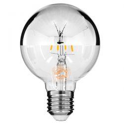 GloboStar® 99104 Λάμπα E27 G80 Γλόμπος με Ανεστραμμένο Χρώμιο Καθρέπτη LED FILAMENT 4W 440 lm 320° AC 85-265V Edison Retro με Διάφανο-Χρώμιο Γυαλί Θερμό Λευκό 2700 K Dimmable