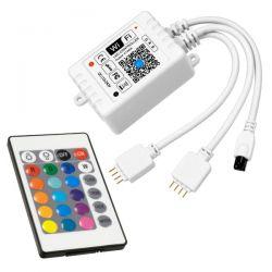 GloboStar® 73411 Ασύρματος Smart Home Wi-Fi LED RGB Controller με 2 Εξόδους RGB και Χειριστήριο IR DC 12VMax 100W - DC 24V Max 200W