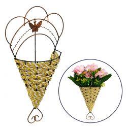GloboStar® 78602 Κασπώ Τεχνητών Φυτών Επιτοίχιο Μεταλικό με Χάλκινες Λεπτομέρειες και Λευκό Χρυσό Σχοινί Μ16.5 x Π6.5 x Υ29cm