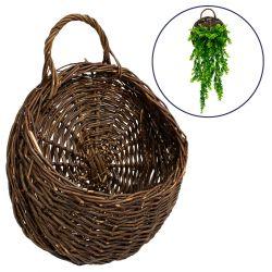 GloboStar® 78604 Κασπώ Τεχνητών Φυτών Επιτοίχιο με Ξύλινο Bamboo Καφέ Σκούρο Καλάθι Μ31 x Π16 x Υ39cm