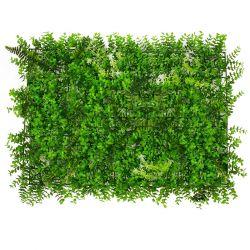 GloboStar® 78412 Συνθετικό Πάνελ Φυλλωσιάς - Κάθετος Κήπος Καυκάσιο Πυξάρι - Φτέρη - Tokyo sun Μ60 x Υ40 x Π9cm