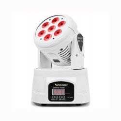 BeamZ MHL74 White Mini Moving Head Wash 7X 10W DMX 12-Channel Quad LED 150.519