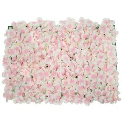 GloboStar® 78322 Συνθετικό Πάνελ Φυλλωσιάς - Κάθετος Κήπος Άγρια Ορτανσία Ροζ/Λευκό Μ60 x Υ40 x Π5cm