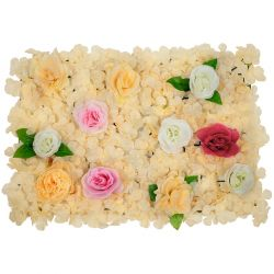 GloboStar® 78308 Συνθετικό Πάνελ Φυλλωσιάς - Κάθετος Κήπος Τριαντάφυλλο - Ορτανσία - Παιώνια Μ60 x Υ40 x Π7cm