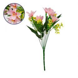 GloboStar® 09083 Τεχνητό Φυτό Διακοσμητικό Μπουκέτο Rain Lily Ροζ M15cm x Υ33cm Π15cm με 7 Κλαδάκια