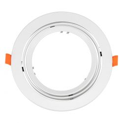 GloboStar® 77850 Χωνευτή Στρογγυλή Βάση για Spot AR111 Λευκή Κινούμενη σε 2 Άξονες Φ17.2 x Y5.5cm