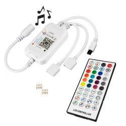 GloboStar® 73431 Ασύρματος Bluetooth LED RGB & Music Controller Sound Activated με Χειριστήριο IR & 2 Εξόδους RGB DC 5-24V Max 144W
