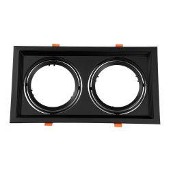 GloboStar® 77855 Χωνευτή Τετράγωνη Διπλή Βάση για Spot AR111 Μαύρη Κινούμενη σε 2 Άξονες M33.5 x Π17.5 x Y5.5cm