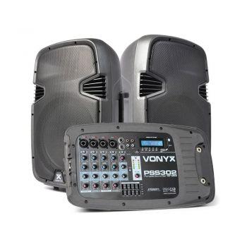 "Vonyx PSS-302 Φορητό Αυτοενισχυόμενο σετ με ηχεία 2 x 10"", κονσόλα, MP3,USB,SD,Bluetooth, Βάσεις, Μικρόφωνο 170.118"